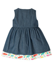 Load image into Gallery viewer, Frugi Reversible Chambray Dress with Cat Motif