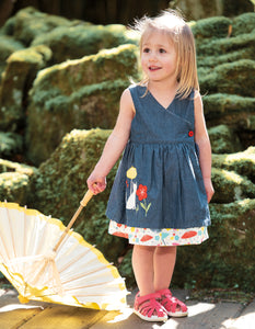 Frugi Reversible Chambray Dress with Cat Motif