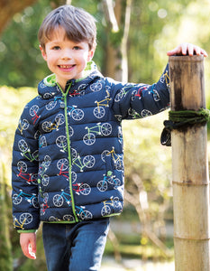 frugi quilted jacket in indigo bicycle print