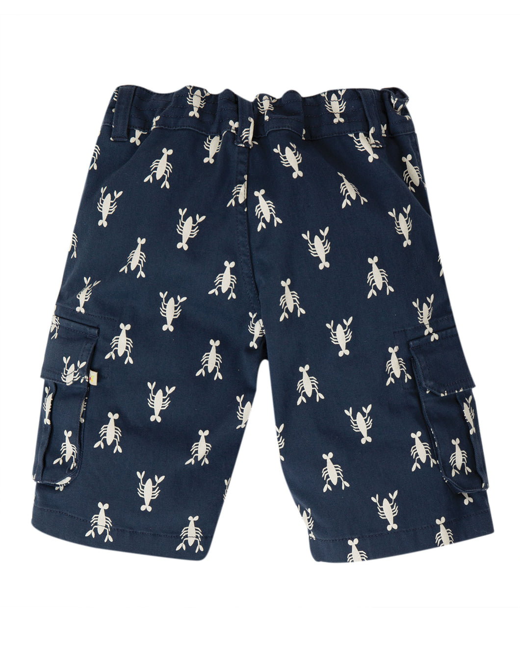 frugi navy lobster print explorer shorts