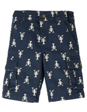 Load image into Gallery viewer, frugi navy lobster print explorer shorts