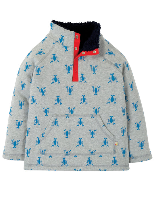 frugi grey marl and blue lobster snuggle fleece