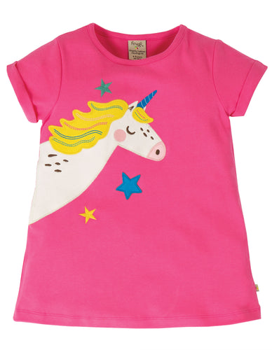 frugi pink unicorn tunic