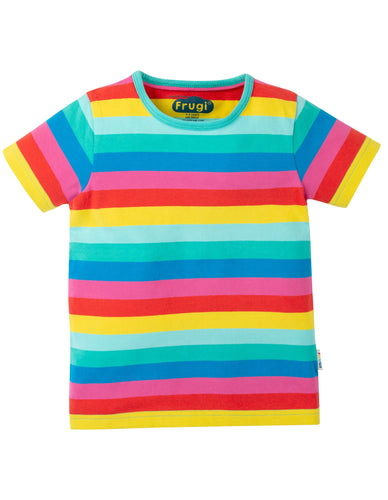frugi flamingo rainbow stripe short sleeved tee