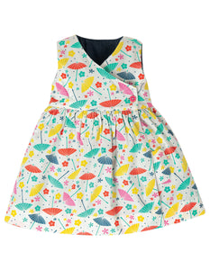 Frugi Reversible Chambray Dress with Cat Motif Reversed to show parasol print