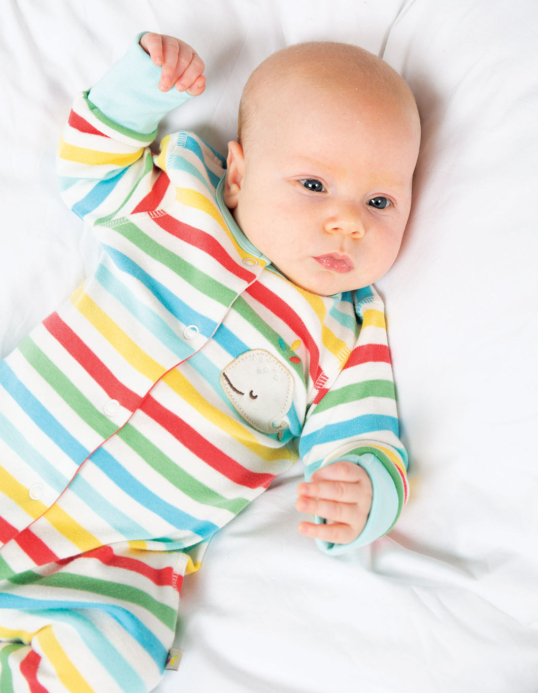 Frugi Striped Babygrow with Whale Motif