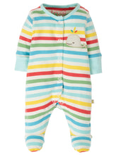 Load image into Gallery viewer, Frugi Striped Babygrow with Whale Motif