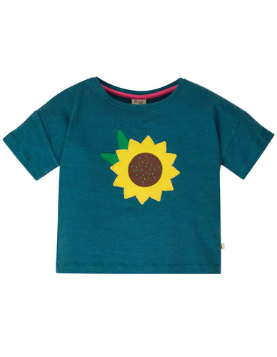 frugi blue sunflower tee