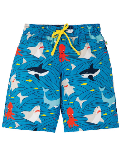 frugi shark print swim shorts