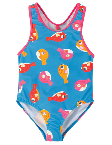 frugi puffer fish print swimsuit