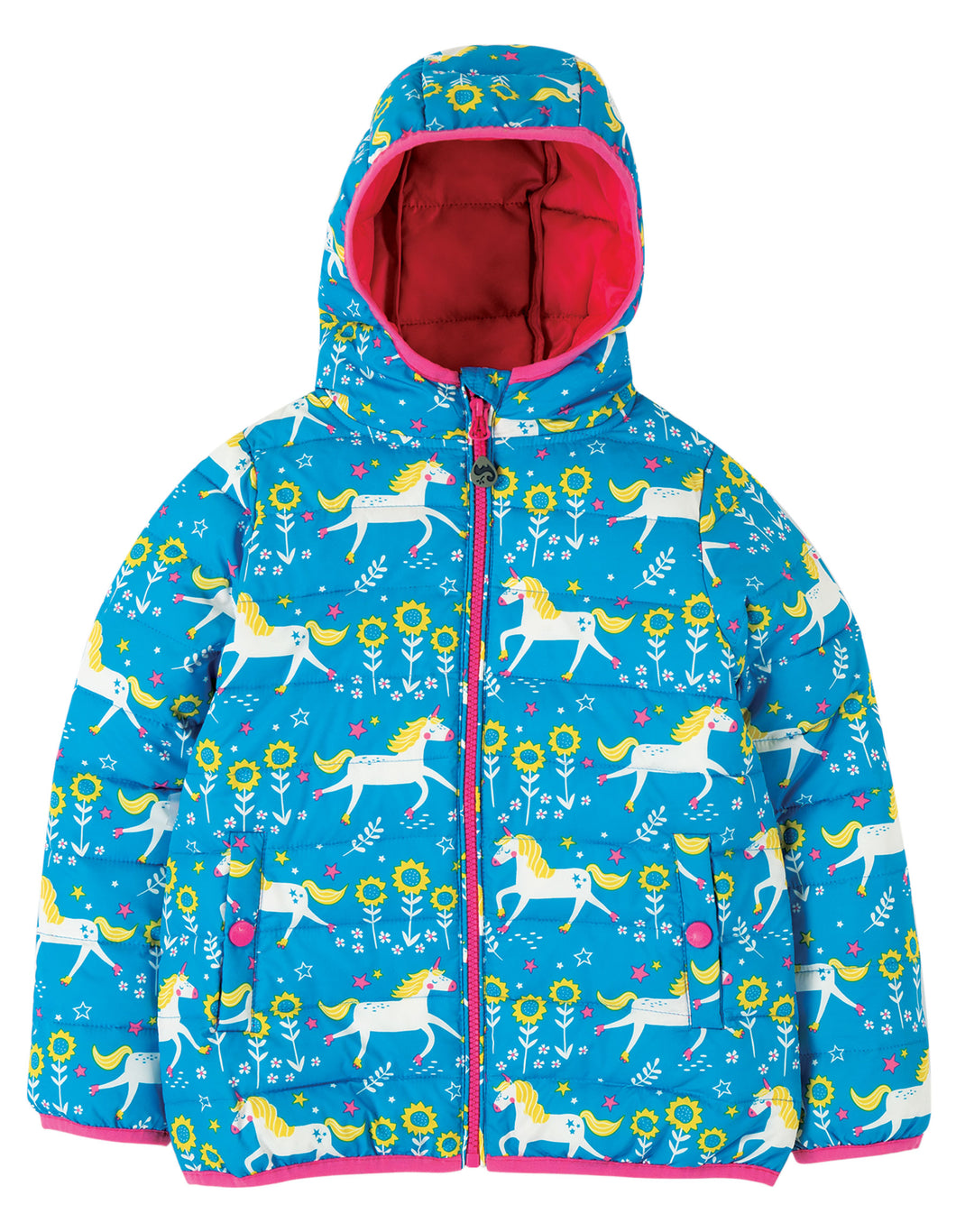 frugi quilted jacket in blue unicorn print