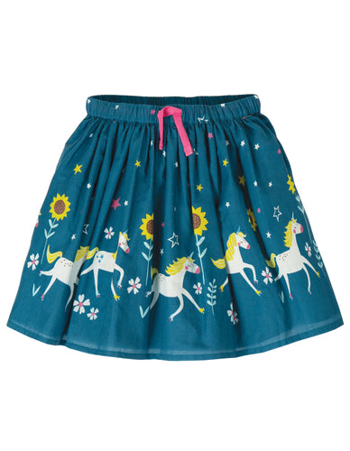 frugi twirly skirt with unicorn print