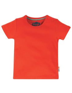 frugi basic t shirt in koi red