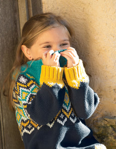frugi fyfe jumper in bumble bee fairisle
