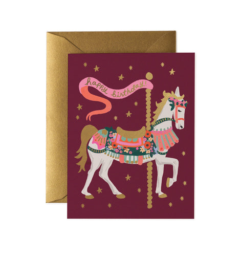 Birthday card with carousel horse design by Rifle Card Co.