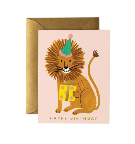 Birthday card with lion in party hat by Rifle Card Co.