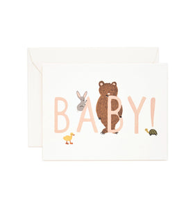 Baby congratulations card with bear, bunny and chick and pale pink text