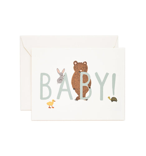 Baby congratulations card with bear, bunny and chick and mint green text
