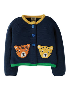 frugi india big cats cardigan