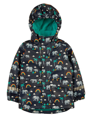 frugi indigo rainbow walks puddle buster coat