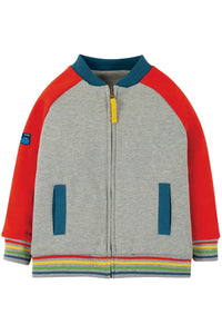 Frugi reese varsity jacket with grey body and red sleeves. Rainbow trim on cuffs. Made from organic cotton.
