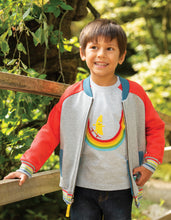 Load image into Gallery viewer, Frugi reese varsity jacket with grey body and red sleeves. Rainbow trim on cuffs. Made from organic cotton.