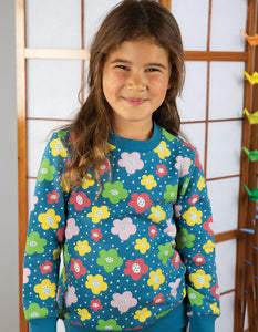Frugi multi coloured floral spot sweatshirt with red elbow patches in 100% organic cotton