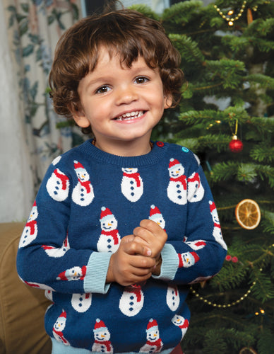 Frugi Jolly Knitted Christmas Jumper in blue with snowmen design. 100% organic cotton.