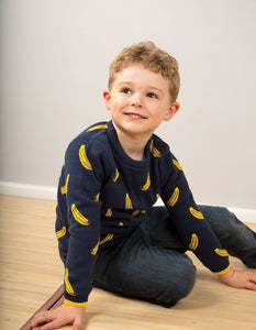 Frugi Banana Knitted Jumper. Navy blue jumper with yellow banana design, made in organic cotton