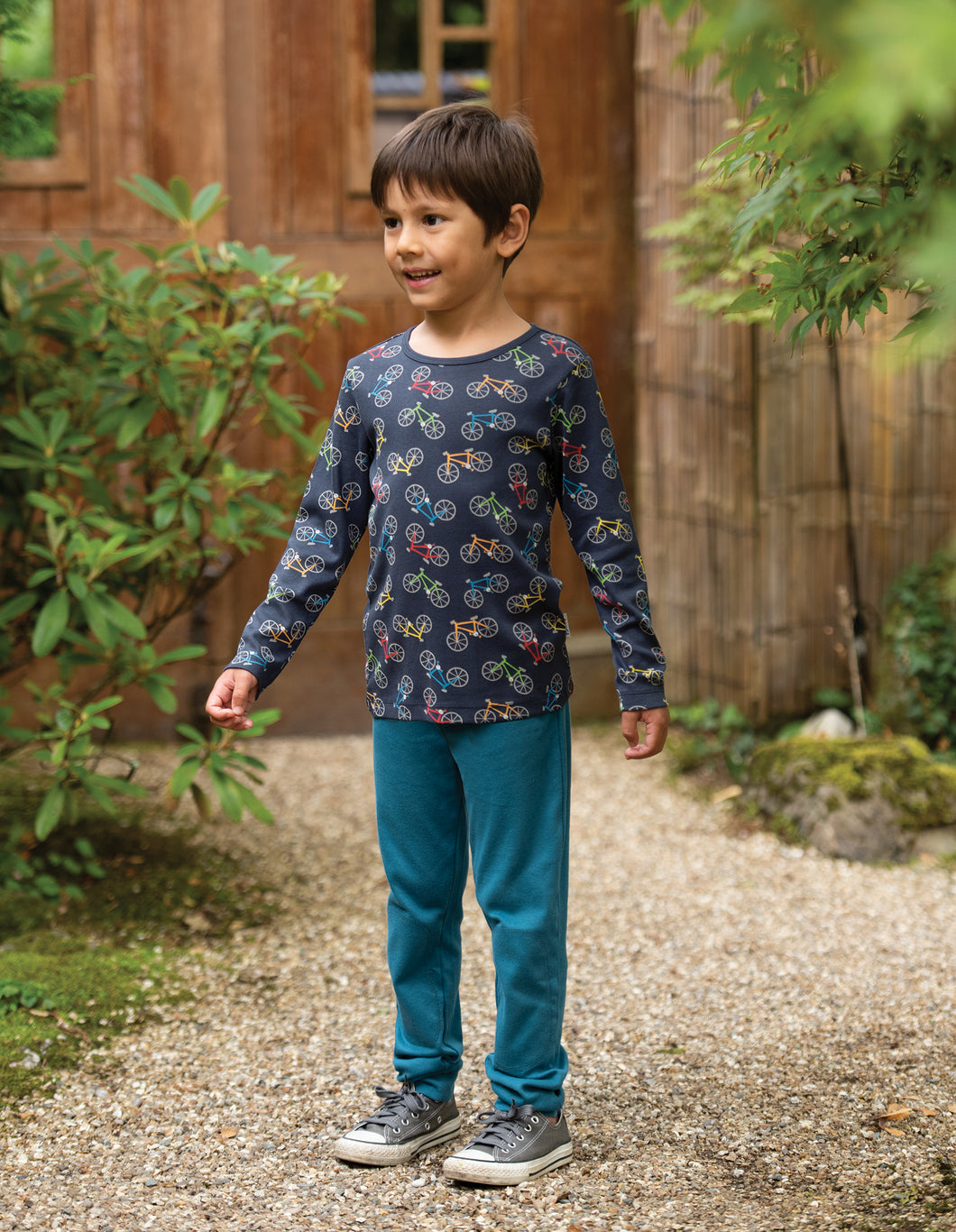 Frugi organic cotton leggings in steely blue