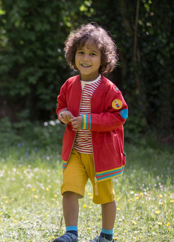 Little Green Radicals Red Reversible Explorer Jacket with Badges on Arms