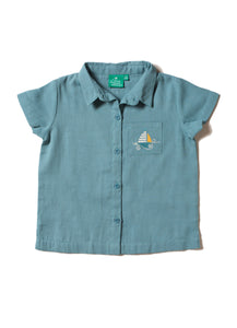 LGR storm blue short sleeved shirt with sailing boat motif