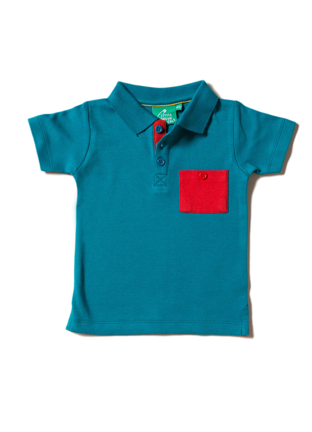 LGR Teal Short Sleeved Polo Shirt with Red Pocket