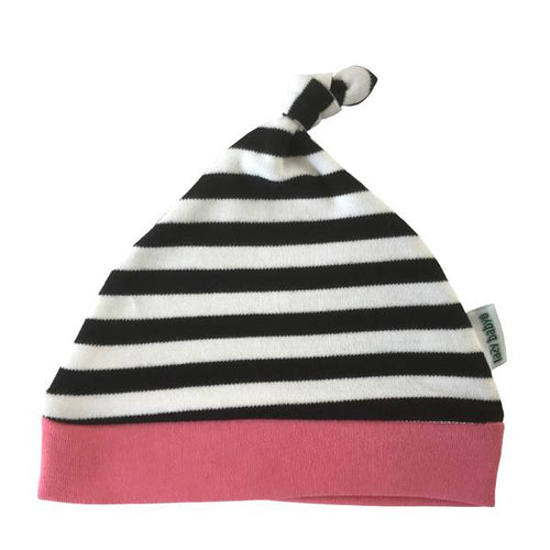 Lazy Baby black & white striped hat with hot pink trim