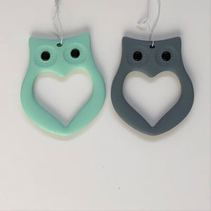 Mama Knows Owl Teethers in Mint Green & Grey