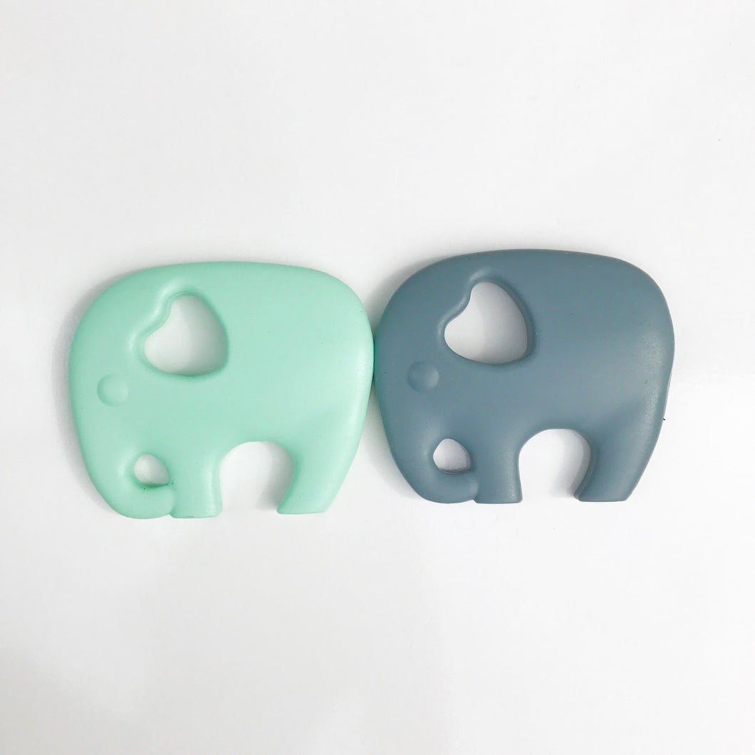 Mama Knows Elephant Teethers in Mint & Grey