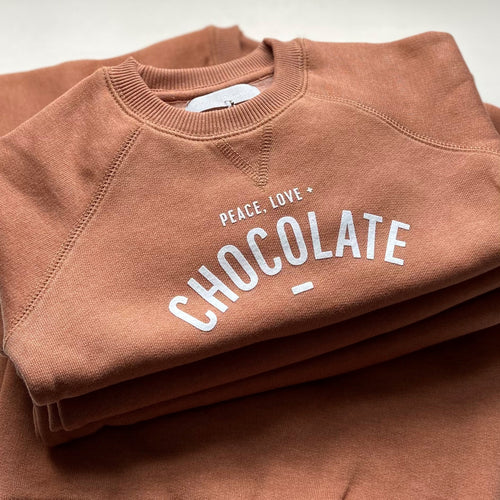 bob & blossom peace love chocolate sweatshirt