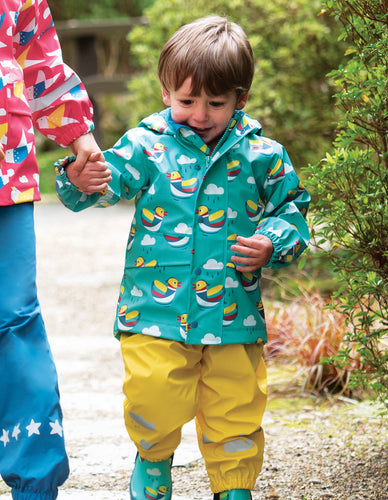 Frugi puddle buster raincoat in aqua with mandarin duck design