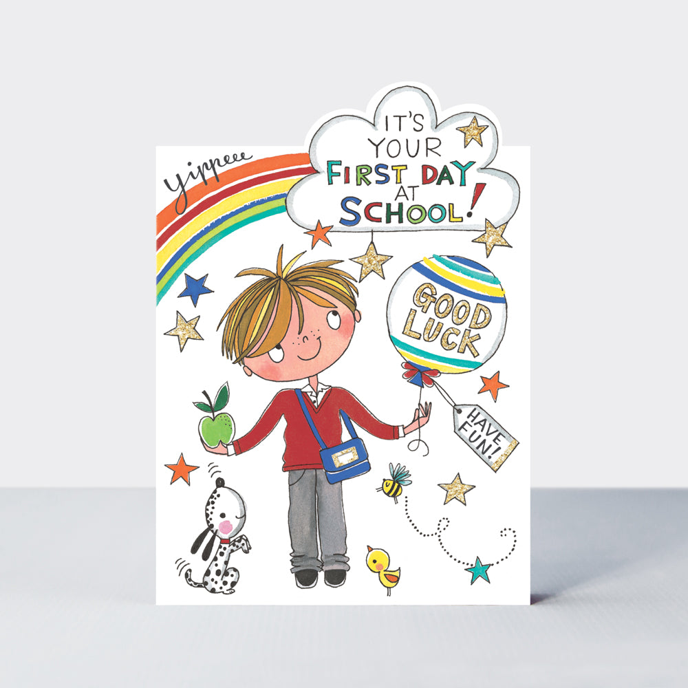 Rachel Ellen First Day At School Boy Card