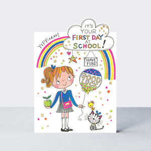 Rachel Ellen First Day At School Girl Card