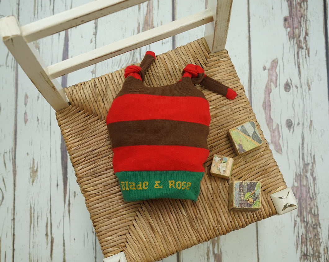 Blade & Rose Red & Brown Striped Christmas Hat