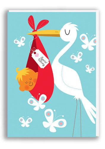 Special delivery card with stork and baby by 1973
