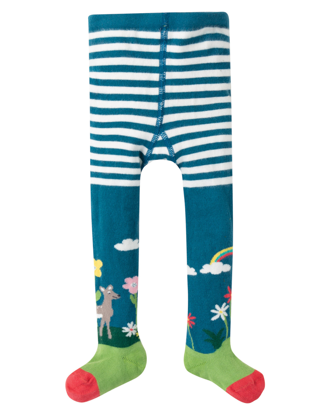 Frugi little norah tights with bunny print and green and red feet