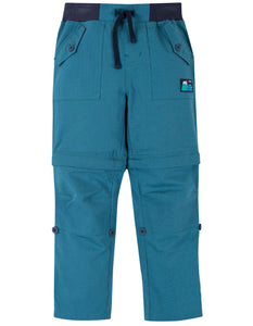 Frugi tyler combat trousers in blue. Convert to shorts with a zip below the knee.