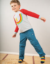 Load image into Gallery viewer, Frugi tyler combat trousers in blue. Convert to shorts with a zip below the knee.