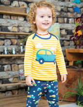 Load image into Gallery viewer, Frugi Bobby Applique Top. Yellow and white striped long sleeved t shirt with car applique on the front.