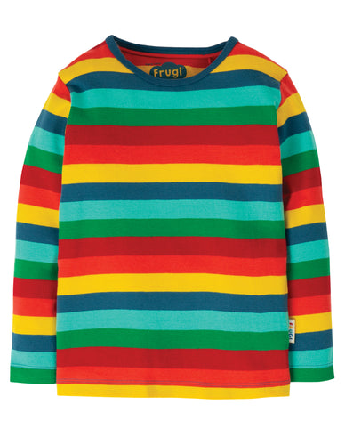 Frugi rainbow striped favourite long sleeved t shirt in 100% organic cotton