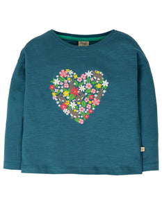 Frugi steely blue long sleeved t shirt with floral heart print on the front. Made in 100% organic cotton.