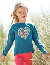 Load image into Gallery viewer, Frugi steely blue long sleeved t shirt with floral heart print on the front. Made in 100% organic cotton.