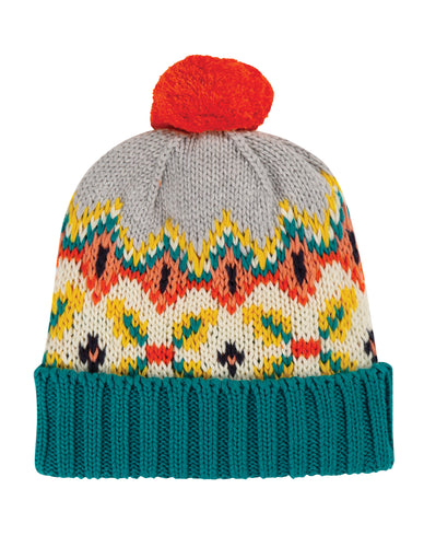 frugi blizzard bobble hat in tin roof fairisle